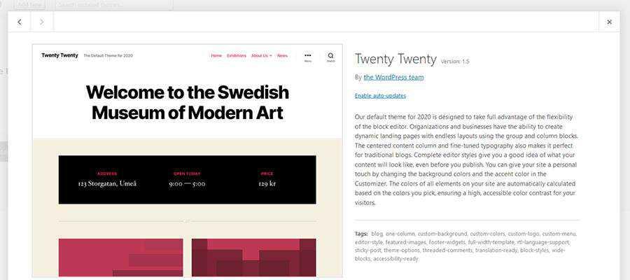 WordPress Twenty Twenty Theme Screen