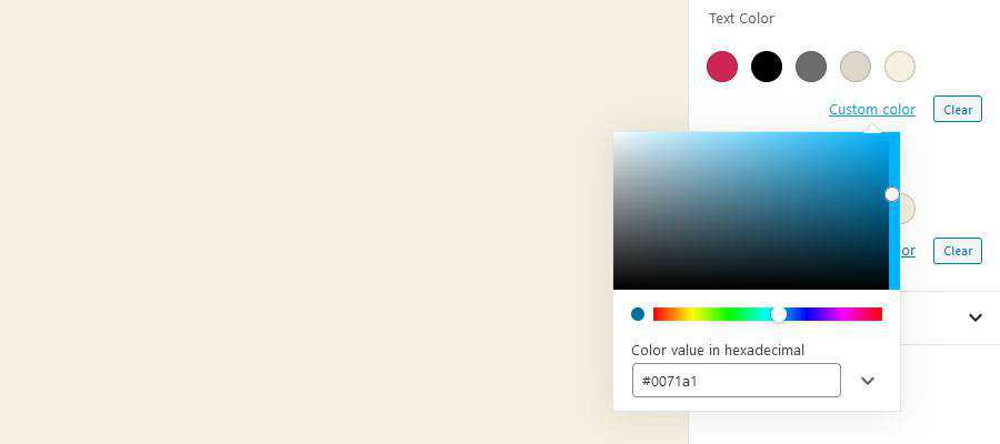 The WordPress custom color picker.
