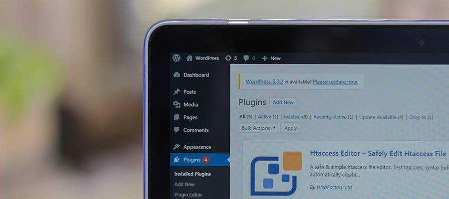 The WordPress Plugins screen.