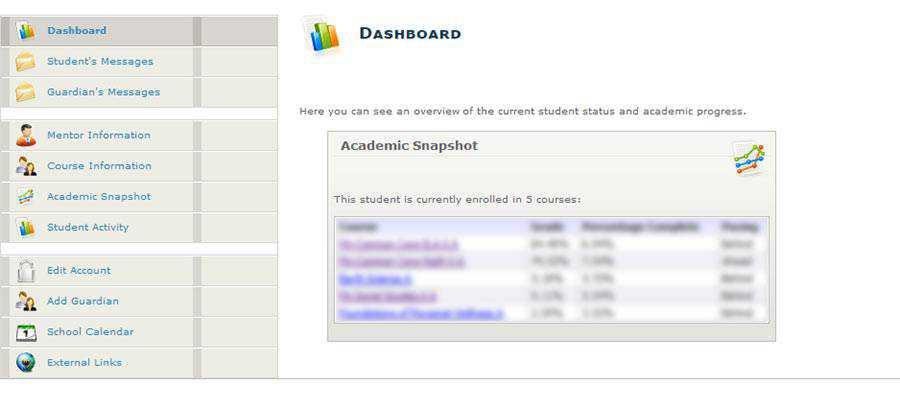 Online school dashboard screen.