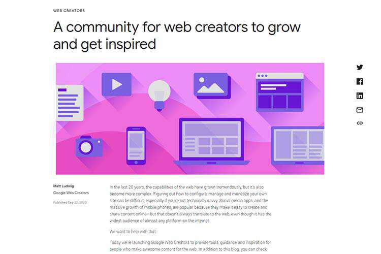 Example from A community for web creators to grow and get inspired