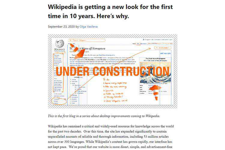 Example from Wikipedia is getting a new look for the first time in 10 years. Here's why.