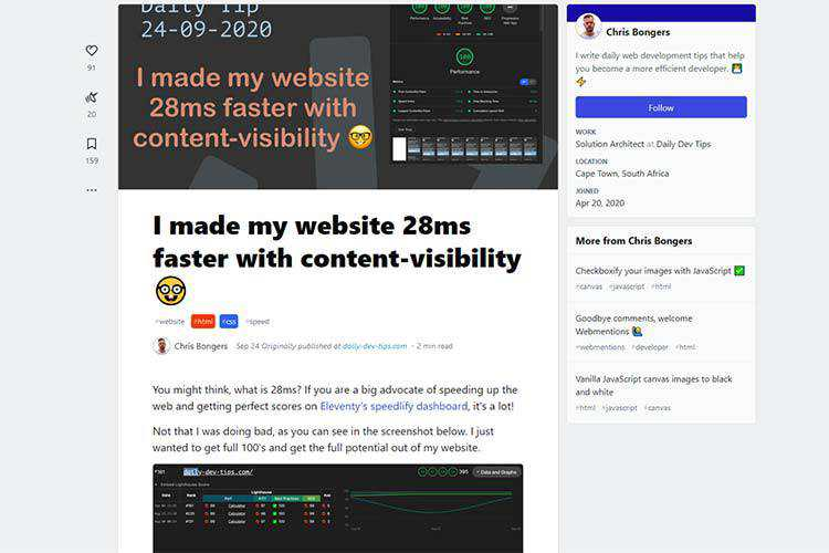 Example from I made my website 28ms faster with content-visibility
