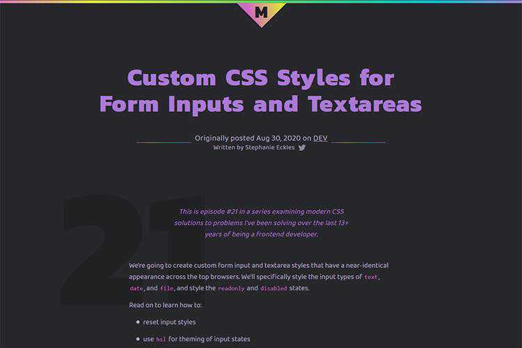 Example from Custom CSS Styles for Form Inputs and Textareas