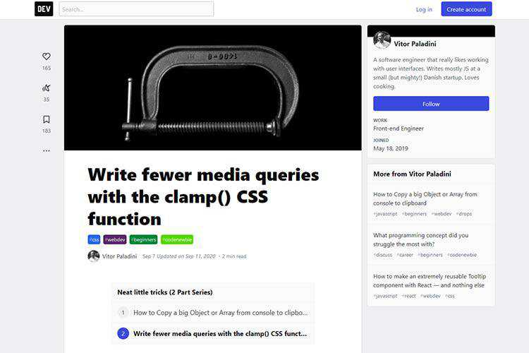 Example from Write fewer media queries with the clamp() CSS function