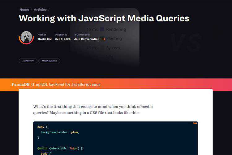 Example from Working with JavaScript Media Queries