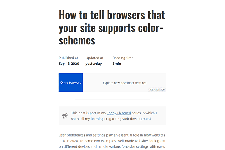 Example from How to tell browsers that your site supports color-schemes