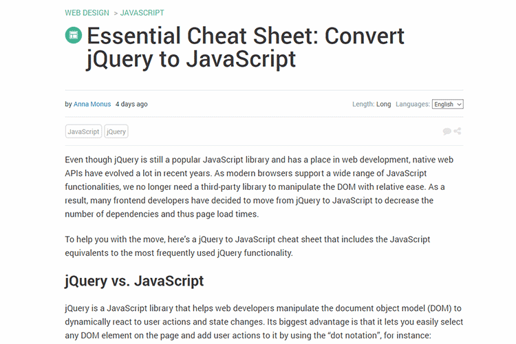 Example from Essential Cheat Sheet: Convert jQuery to JavaScript