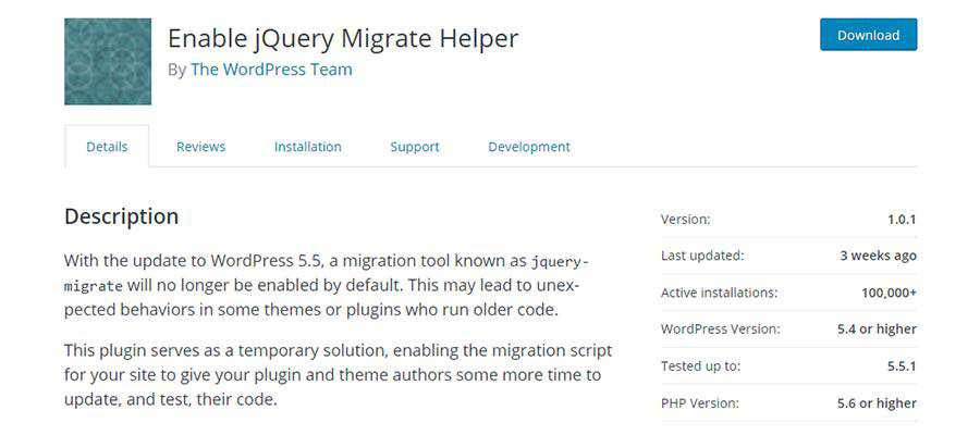 Enable jQuery Migrate Helper plugin screen.