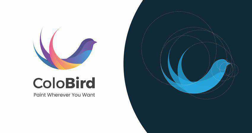 Flat Bird Abstract Shape Logo