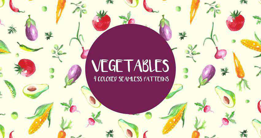 Watercolor Vegetables free patterns seamless