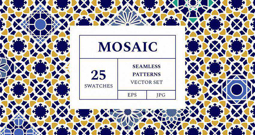 Mosaic Patterns Vector free seamless