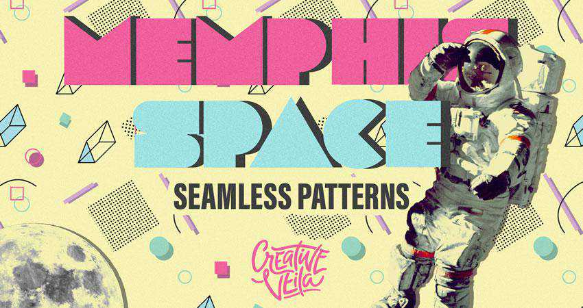 Memphis Space free patterns seamless