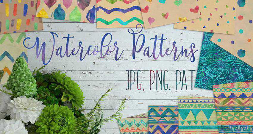 Watercolor free patterns seamless
