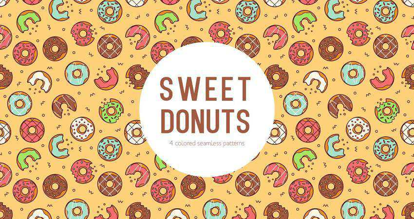 Sweet Donuts Vector free patterns seamless