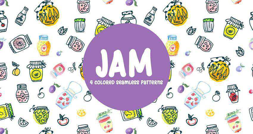Watercolor Jam Vector free patterns seamless