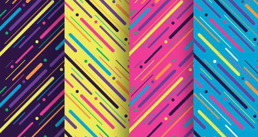 Neon Light Particles Stripes free patterns seamless