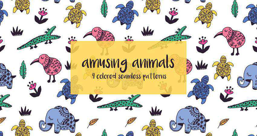 Animals free patterns seamless