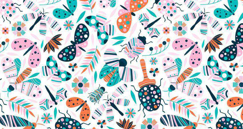 Vector Insects Flower free patterns seamless