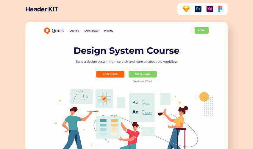 Design System Header free web ui kit user interface