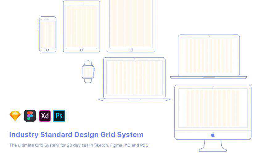 UX Design Grid System Devices free web ui kit user interface