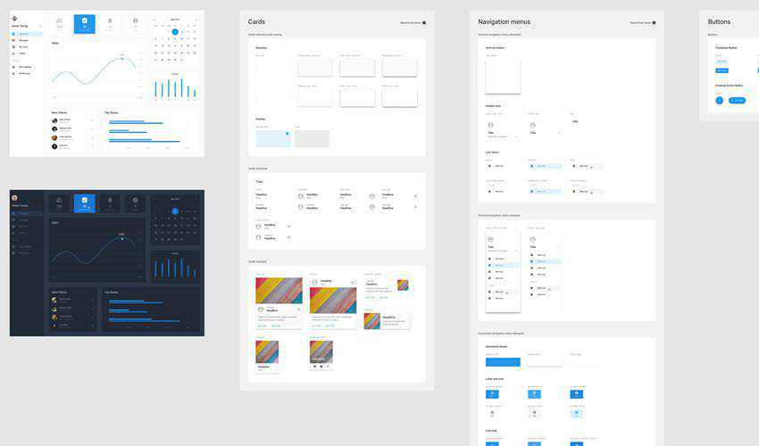 Light Dark Material Design Desktop free web ui kit user interface