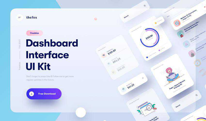 Dashboard Interface Elements free web ui kit user interface