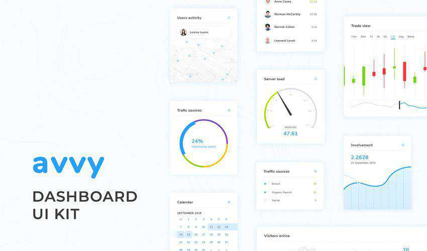 Avvy Dashboard free web ui kit user interface