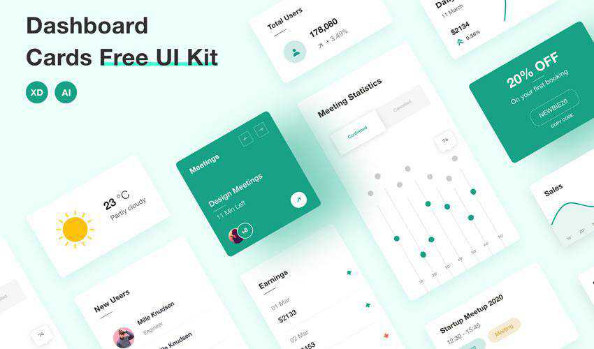 Dashboard Cards free web ui kit user interface
