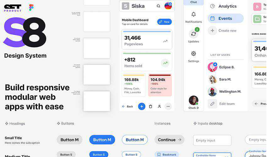 S8 Design System Dashoboard free web ui kit user interface
