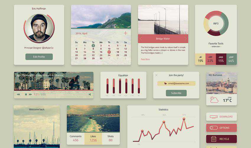 Coloro Widget free web ui kit user interface