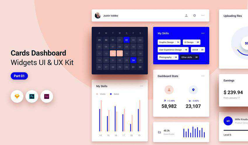 Cards Dashboard Widgets free web ui kit user interface