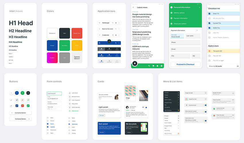 Material Design Components free web ui kit user interface
