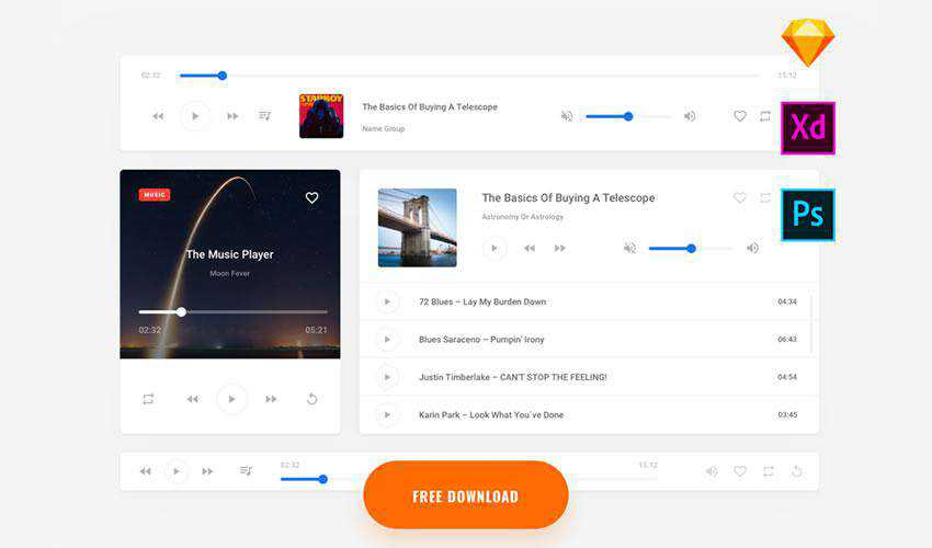 K2 Music free web ui kit user interface