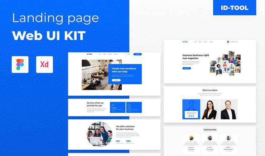 IDTOOL Landing Page free web ui kit user interface