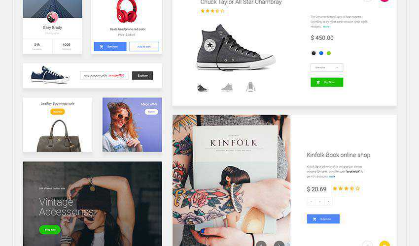 Ecommerce free web ui kit user interface