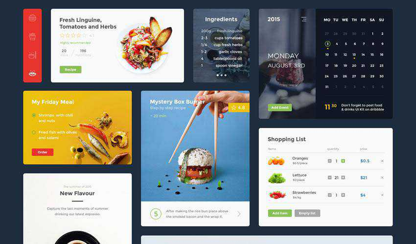 Food Drink free web ui kit user interface