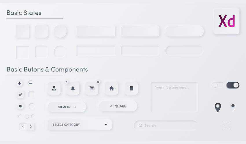 Neomorphic free web ui kit user interface