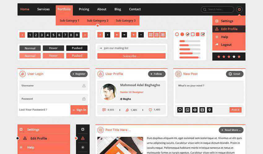 Flatty UI Kit free web ui kit user interface