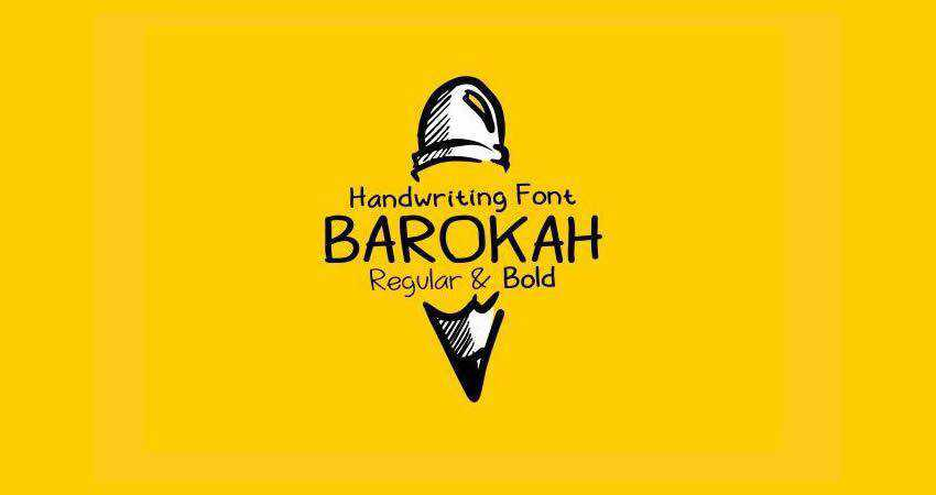 Barokah Uppercase font free Lowercase Display hand-drawn font free