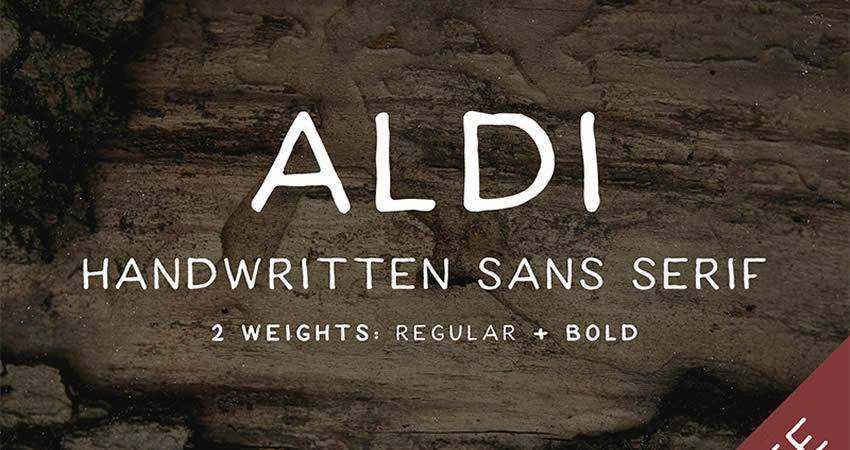 ALDI Handwritten free Sans-Serif hand-drawn font free