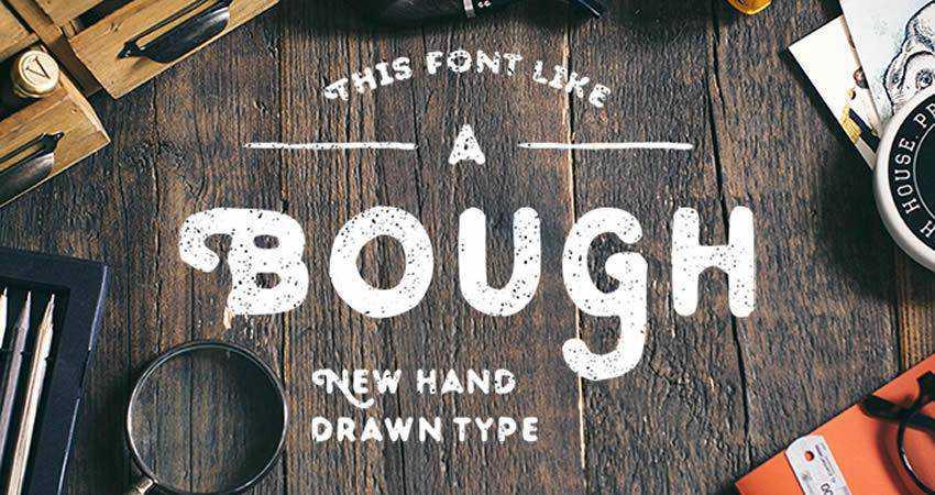 Bough Hand-Drawn Typeface free font hand-drawn font free