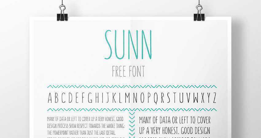 SUNN Uppercase Handwriting Font free hand-drawn font free