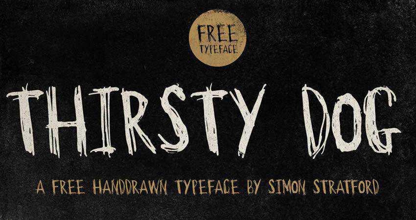 Thirsty Dog Handdrawn free Typeface hand-drawn font free