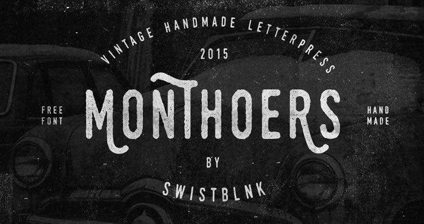 Monthoers Handmade free font Letterpress hand-drawn font free