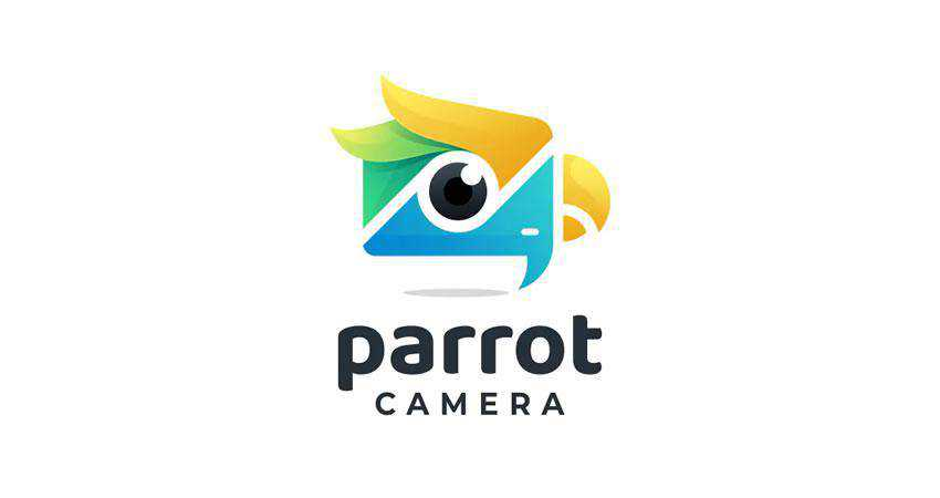 Parrot with Camera Gradient photography photographer logo design inspiration