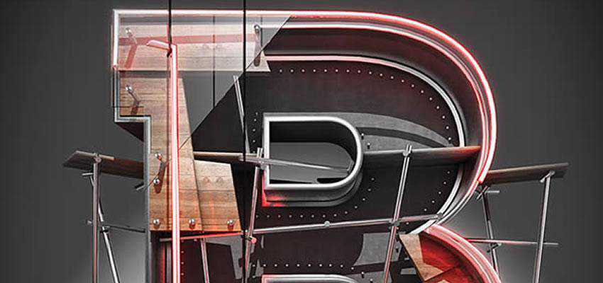 João Oliveira creates a 3D typographic illustration using initially Cinema 4D for building the 3D