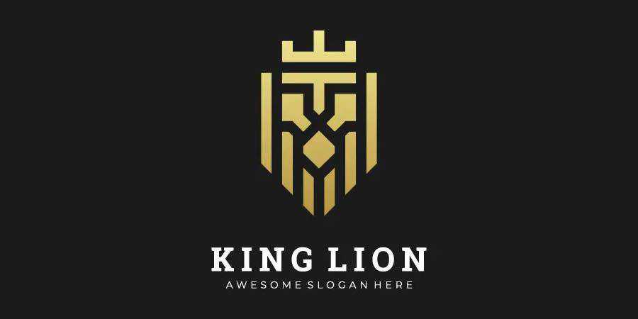 Abstract Lion King symmetrical logo design inspiration