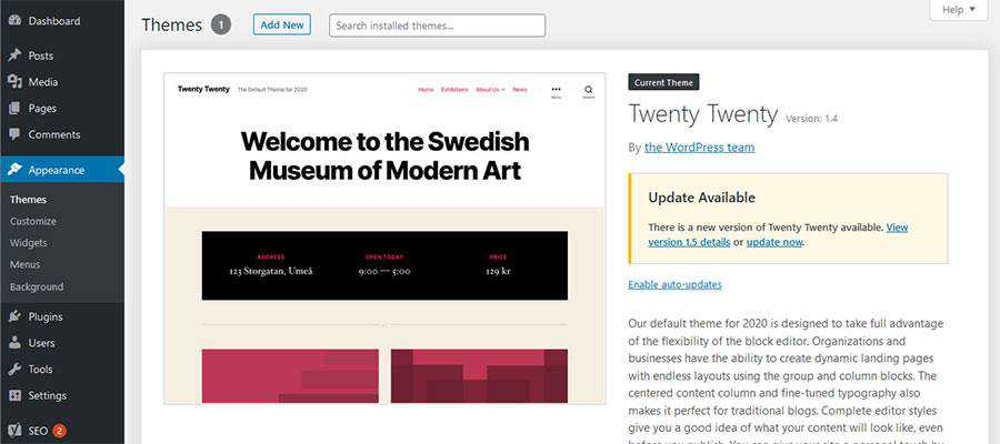 Ekran motywów WordPress.