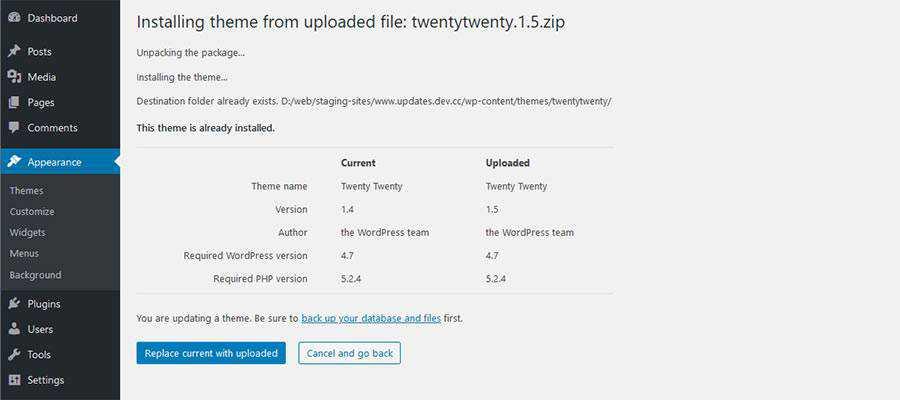 Porównanie WordPress przesłanego pliku i istniejącego motywu Twenty Twenty.
